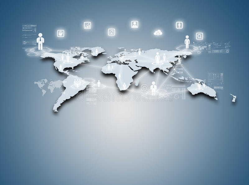 Internet technology concept of global business or social network. Connection with icon stock illustration
