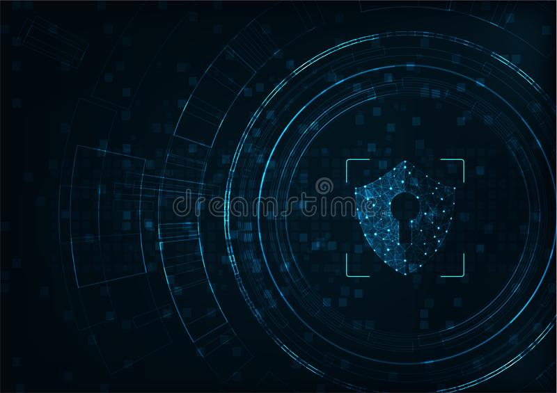 Security concept. Internet technology cyber security concept of protect computer virus attack with shield Keyhole icon on Blue abstract background stock illustration