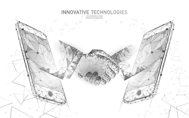 Internet technology 3D businessman handshake. Business agreement contract concept. Success web network low poly banner. Polygonal international internet stock illustration