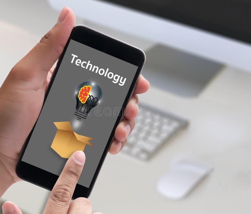 Internet Technology Ideas think Outside Box , businessman hand w stock illustration