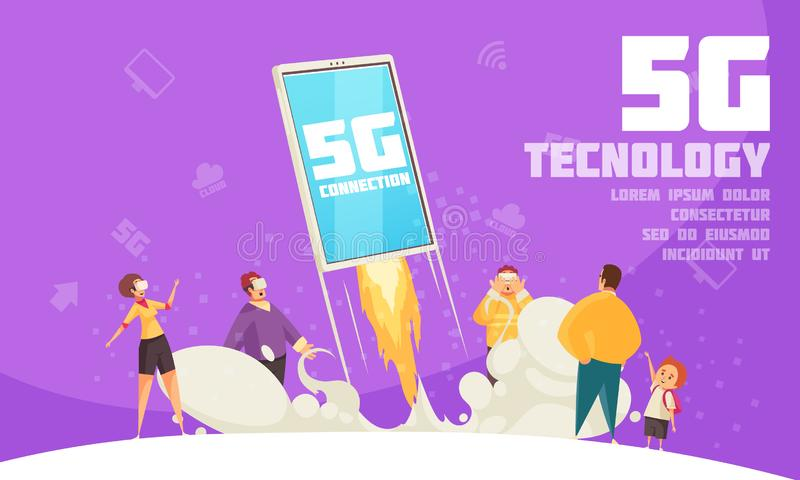 Internet Technology Poster. Modern poster with small characters using different gadgets near big smartphone support 5g internet technology cartoon vector royalty free illustration