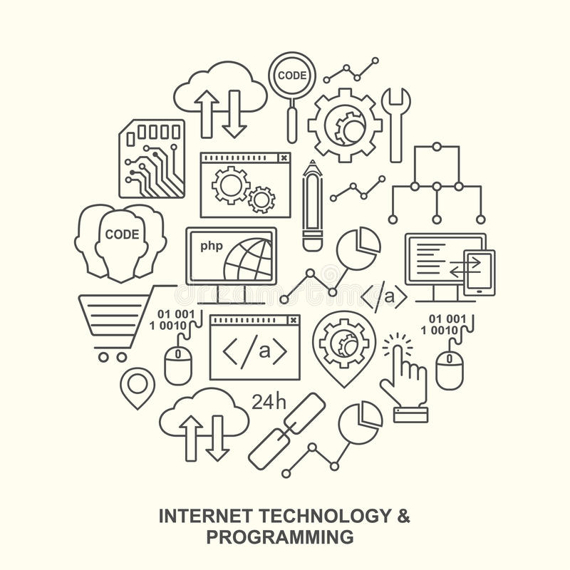 Internet technology and programming round shape pattern with linear icons. Line style html, php and code background with place for text vector illustration