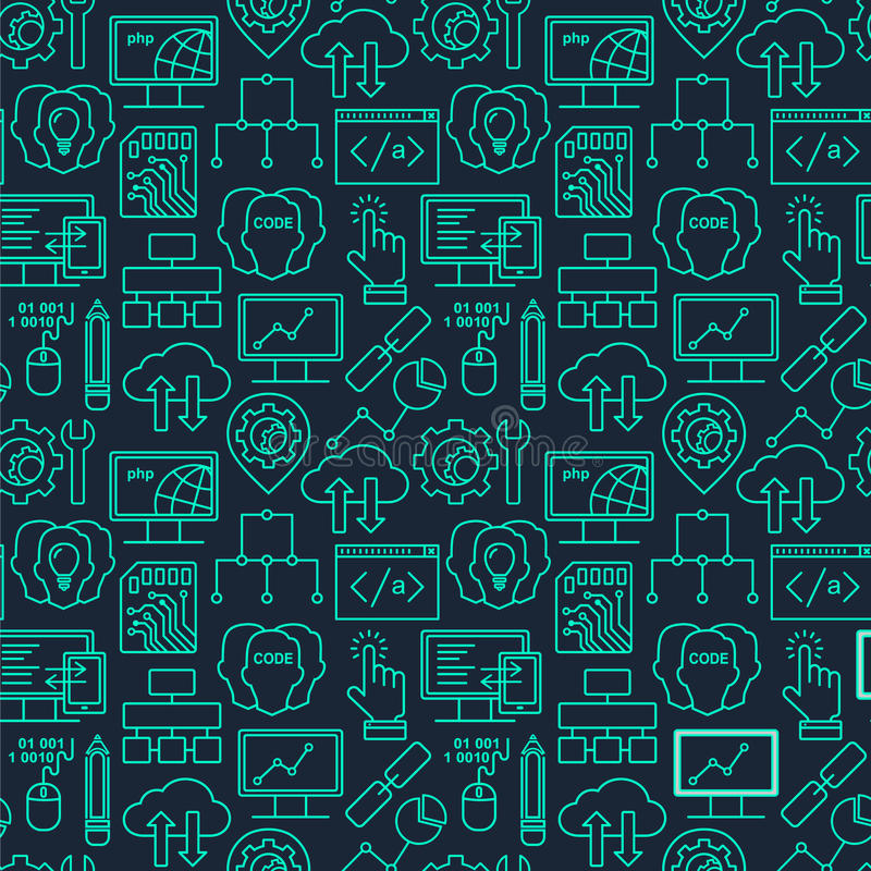 Internet technology and programming seamless background. With linear icons set. Html, php and code seamless pattern with line style icons on black stock illustration