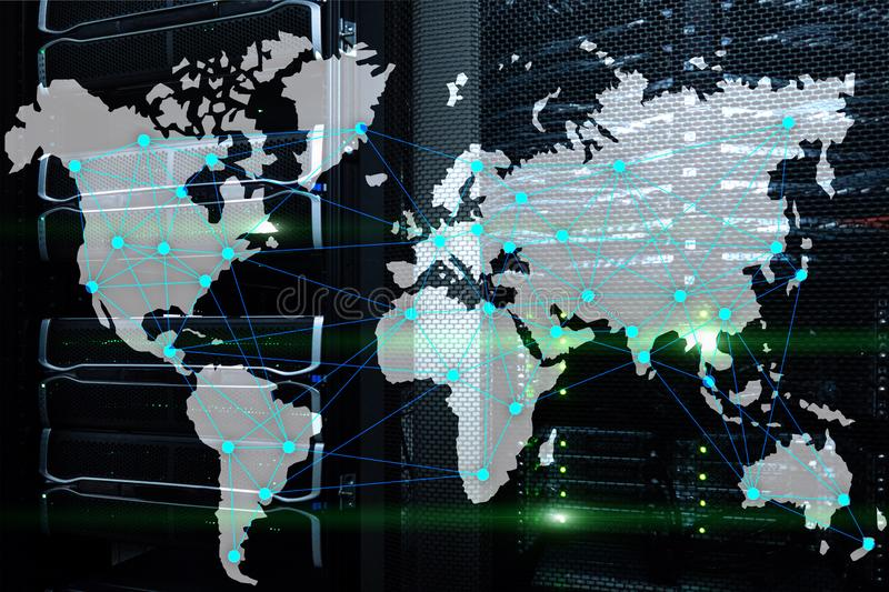 Internet and telecommunication concept with world map on server room background.  stock photo