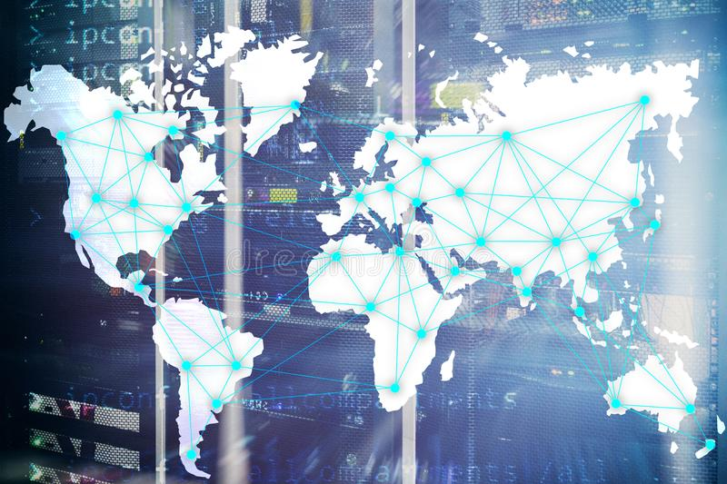 Internet and telecommunication concept with world map on server room background.  stock images