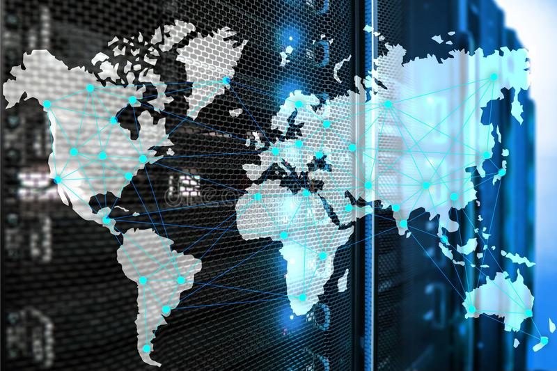 Internet and telecommunication concept with world map on server room background.  stock illustration