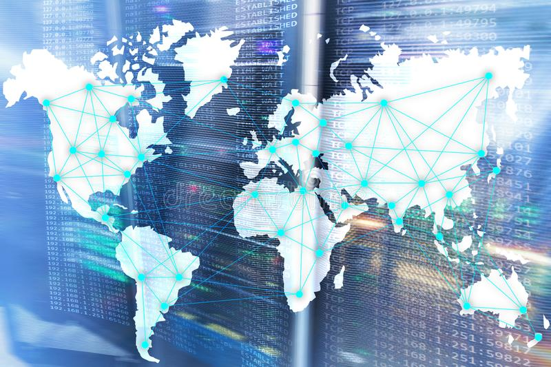 Internet and telecommunication concept with world map on server room background. Internet and telecommunication concept with world map on server room stock photography