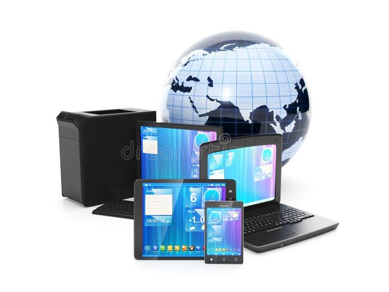 Internet. Telefono cellulare del collegamento, PC della compressa o computer portatile   illustrazione di stock