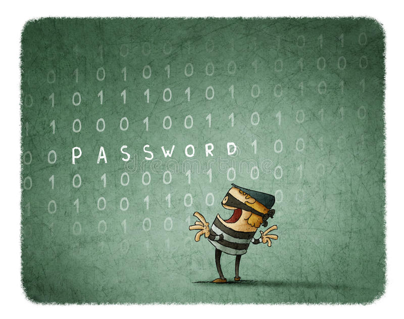 Internet Theft Concept. Thief steals the password of a background with binary numbers stock illustration