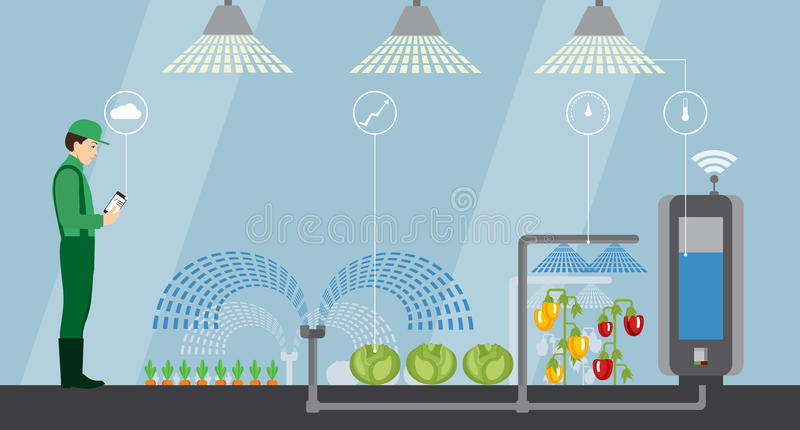 Internet of things in agriculture. Smart farm with wireless control. Vector illustration vector illustration