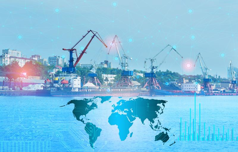 The Internet of things and artificial intelligence to solve logistics problems of loading control and ship goods around the world royalty free stock image