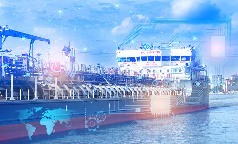 The Internet of things and artificial intelligence to solve logistics problems and solve the safe transportation of LNG. Industry royalty free stock photo
