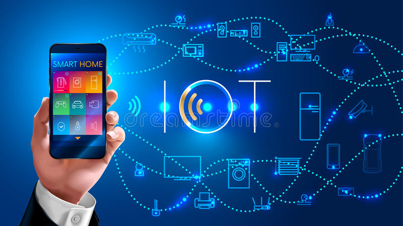 Internet of things. Businessman holding phone in his hand and controls the smart home wirelessly, concept on blue background. Logo iot stock illustration