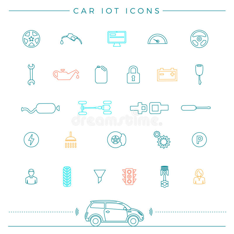 Download Internet Of Things For The Car Icons Stock Vector - Image: 83722554