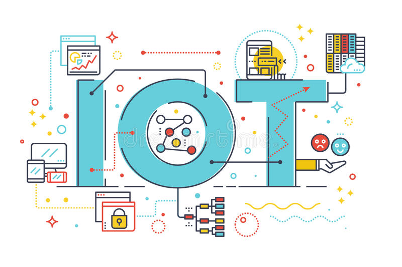 Internet of things. Internet computer technology concept word lettering design illustration with line icons and ornaments in blue theme stock illustration