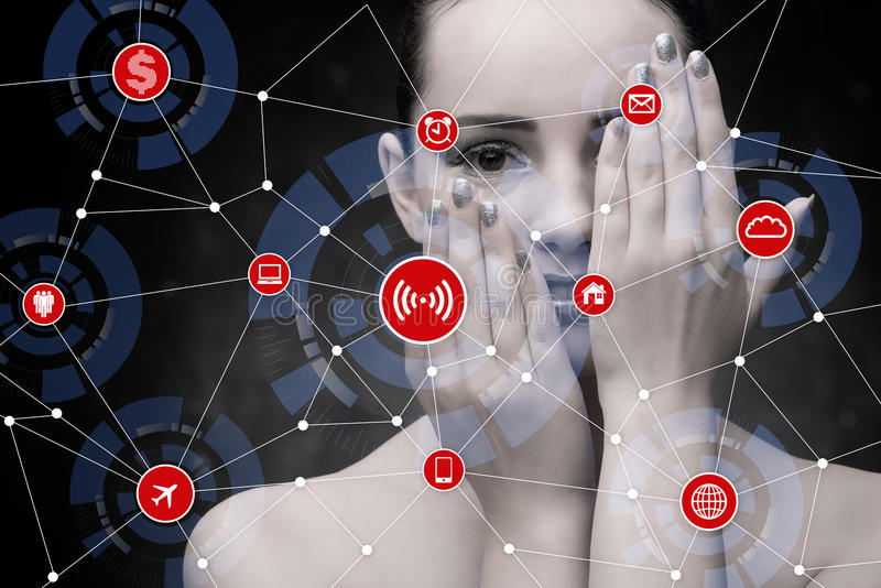 The internet of things concept with businesswoman stock photography