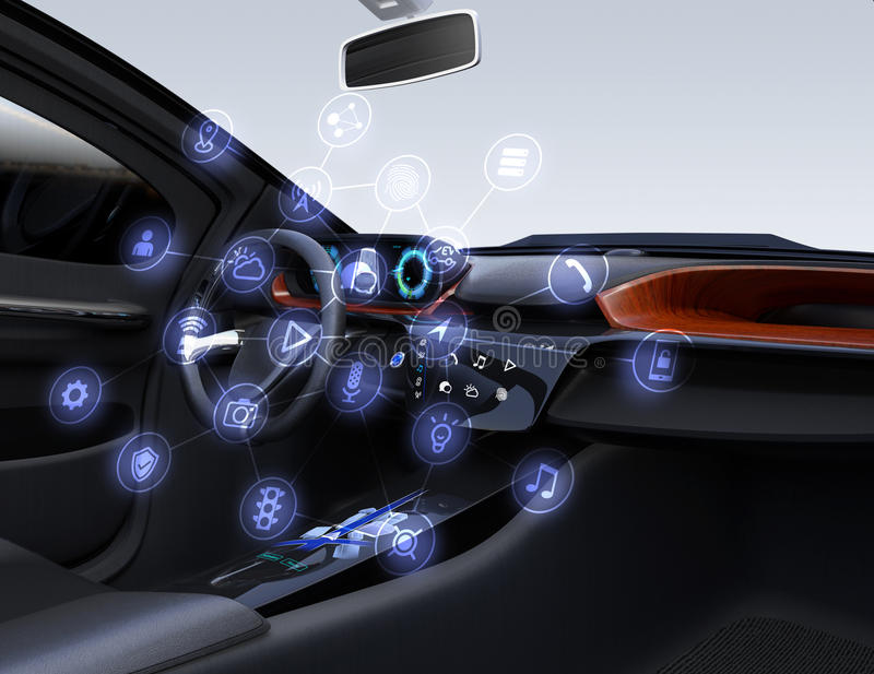 Internet of things concept for cars. Autonomous car interior. Connected car icons. Internet of things concept. 3D rendering image royalty free illustration