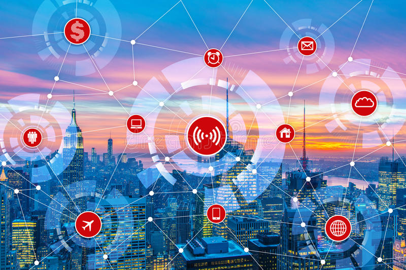 The internet of things concept in the city. Internet of things concept in the city vector illustration
