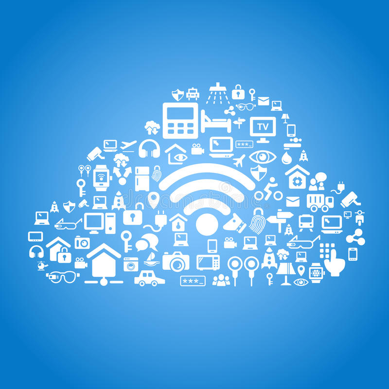 Internet of things concept. Internet of things and cloud computing concept - cloud outline by cloud computing and Internet of things concept icons vector illustration