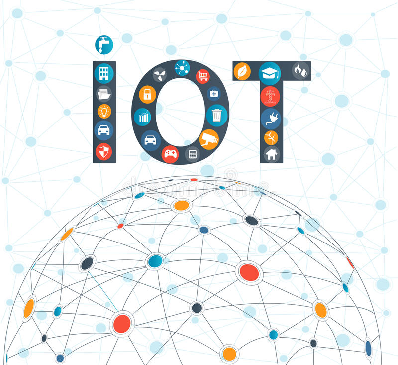 Internet of things concept and Cloud computing technology. Internet networking concept. Internet of things cloud with apps.Cloud computing technology device vector illustration