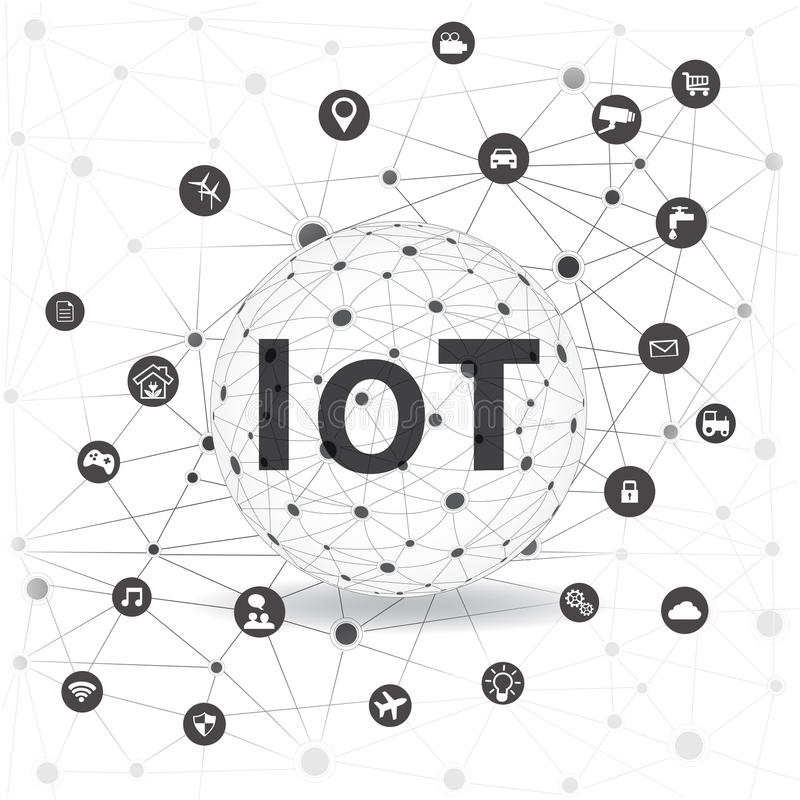 Internet of things concept and Cloud computing technology. Internet networking concept. Internet of things cloud with apps..Cloud Apps stock illustration
