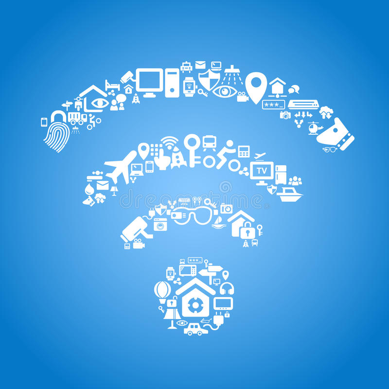 Internet of things concept. Internet of things and cloud computing concept - wifi outline by cloud computing and Internet of things concept icons stock illustration