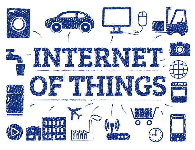 Internet of Things concept doodle. Internet of Things Symbols. Chart with keywords and icons vector illustration