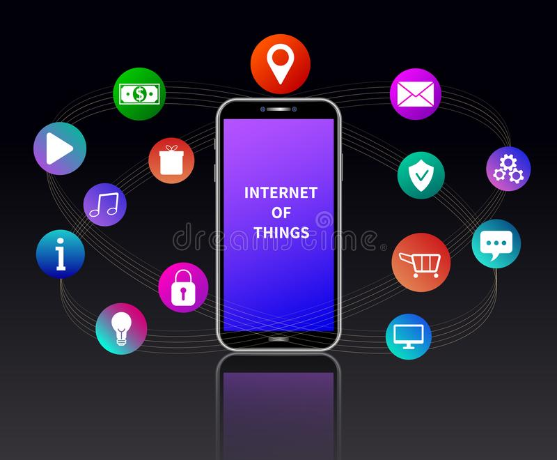 Internet of things concept. IOT web banner. Smartphone with colorful mobile app icons connected by lines isolated, black backgrond. Internet of things concept stock illustration