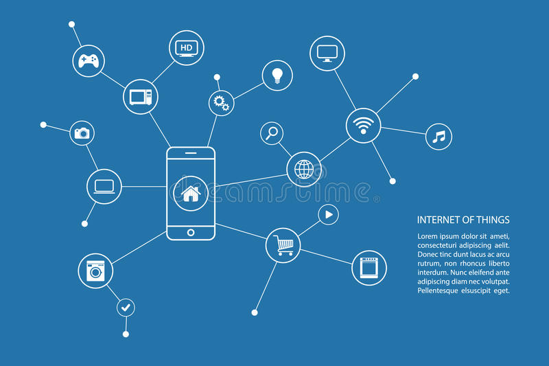 Internet of things concept with smart phone and white icons. vector illustration