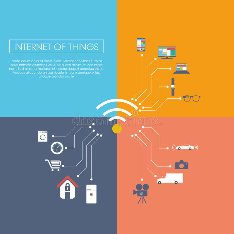 Internet of things concept vector illustration. With icons for smart things in household, technology, communication. Eps10 vector illustration stock illustration