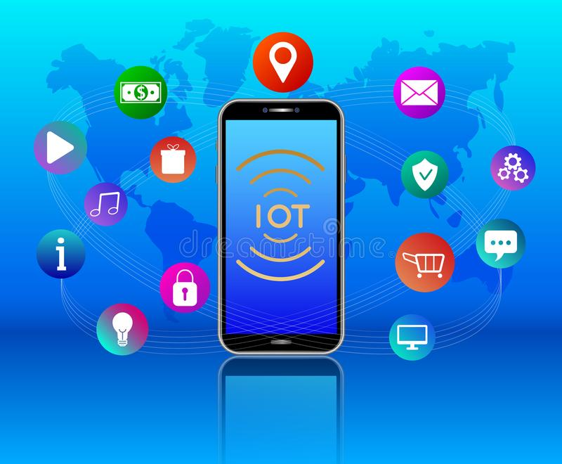 Internet of things concept. Wireless network. IOT on mobile phone touch screen. Smartphone, colorful media icons, blue backgro stock illustration