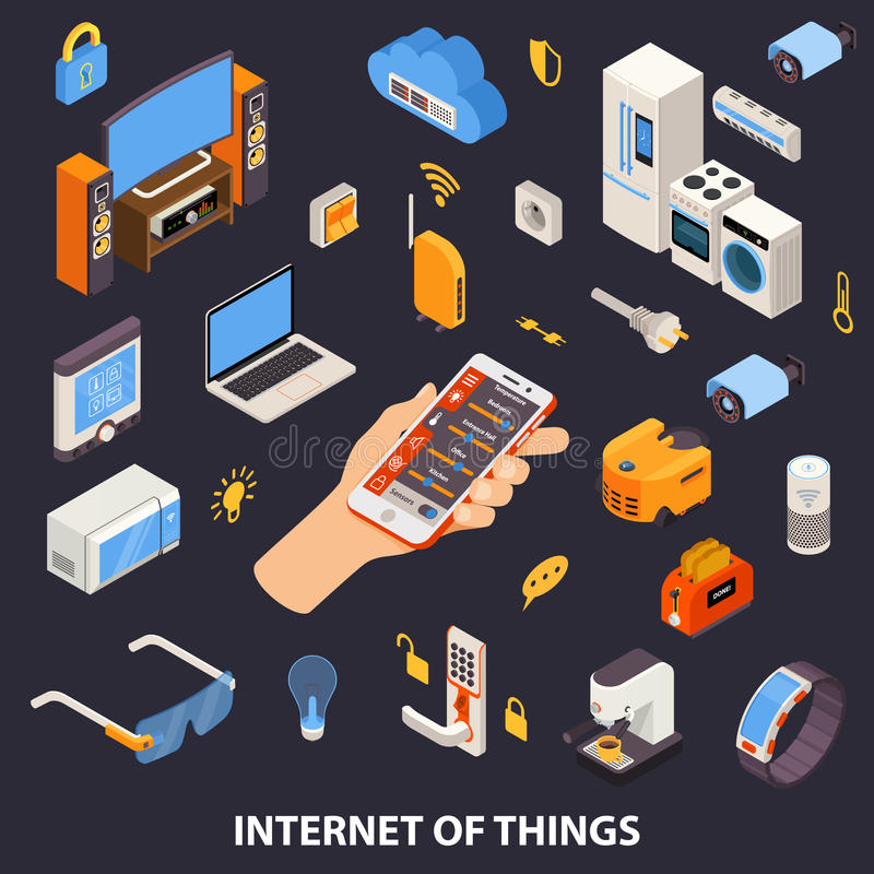Internet Of Things Control Isometric Poster stock illustration