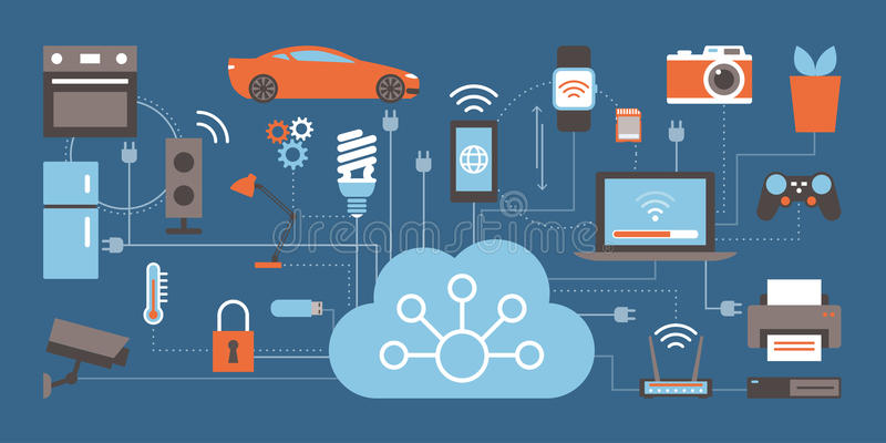 Internet of things. Devices and connectivity concepts on a network, cloud at center vector illustration
