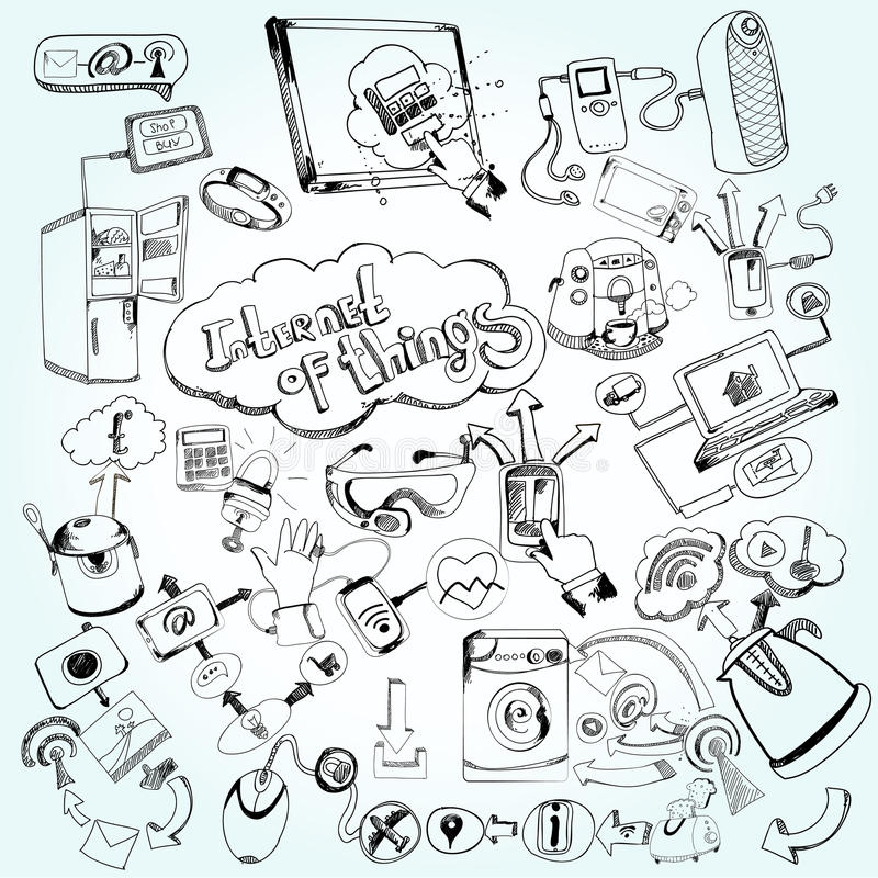 Internet Of Things Doodles. Internet of things concept with doodle decorative network technology icons set vector illustration stock illustration