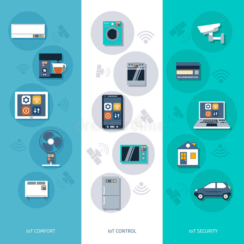 Internet of things flat banners set vector illustration