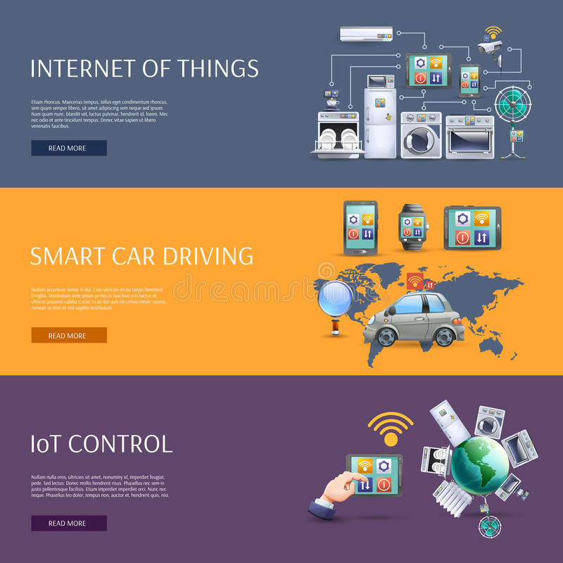 Internet of things flat banners set. Internet of things smart car driving iot control interactive homepage flat banners set abstract vector illustration royalty free illustration