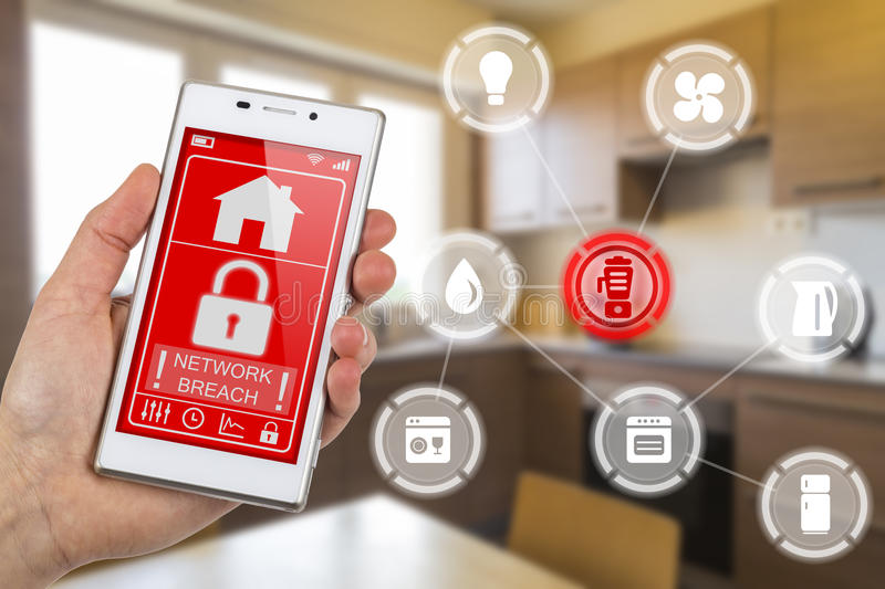 Internet of things hacked network. Smartphone used for controlling devices in smart home interconnected over the Internet of Things. Icons for different devices royalty free stock photo