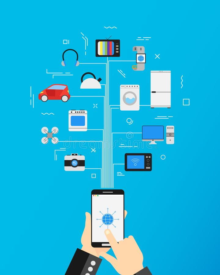 Internet of things and home automation concept. Vector illustration stock illustration