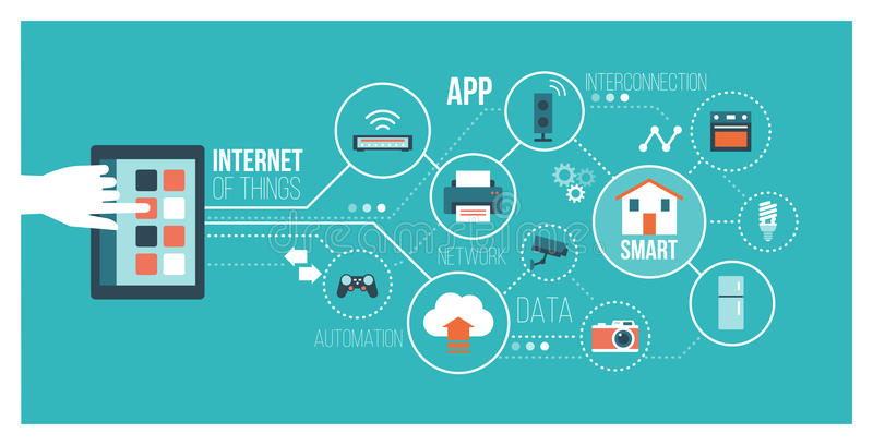 Internet of things. And home automation concept: user connecting with a smartphone and interconnecting with everyday objects on a network stock illustration