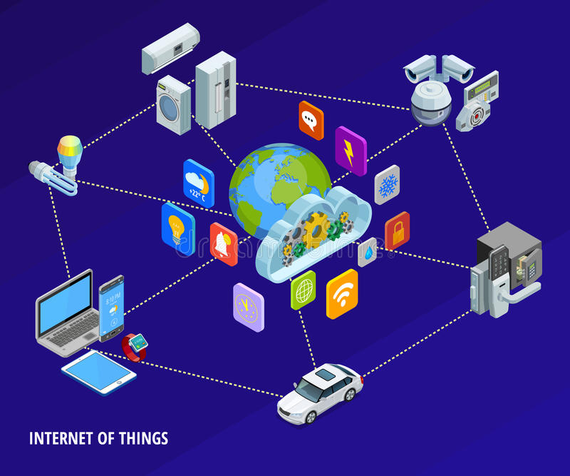 Internet Of Things Home Isometric Banner stock illustration