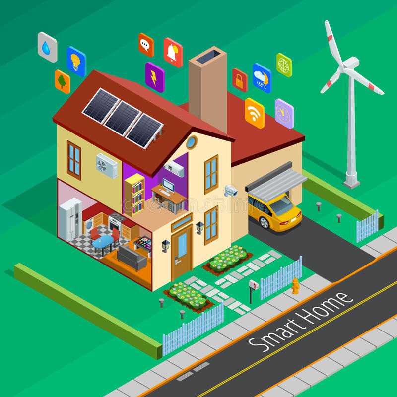 Internet Of Things Home Isometric Poster stock illustration