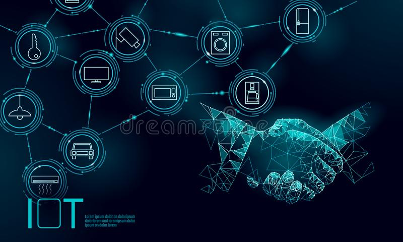 Internet of things icon work handshake concept. Smart city wireless communication network IOT ICT. Home intelligent. System automation computer online vector royalty free illustration