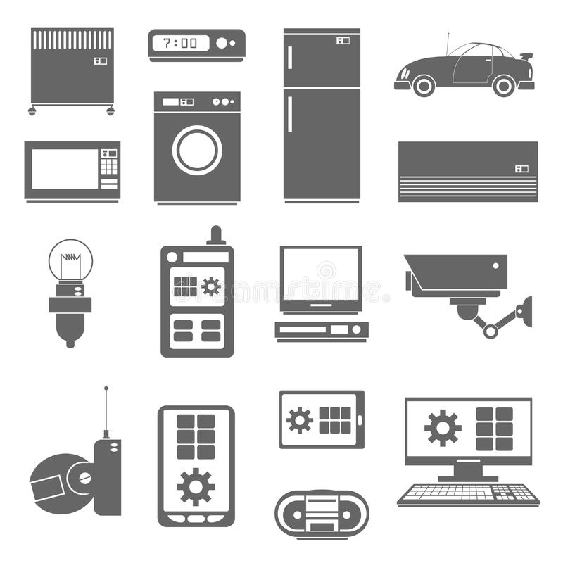 Internet things icons set black stock illustration