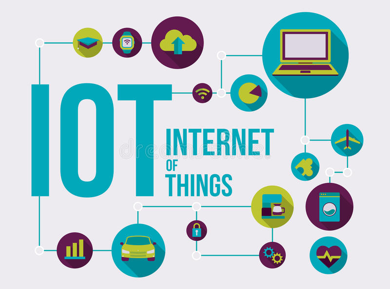 Internet of things illustration connected devices. Internet of Things illustration, future of the connected devices and applications over global network IOT royalty free illustration
