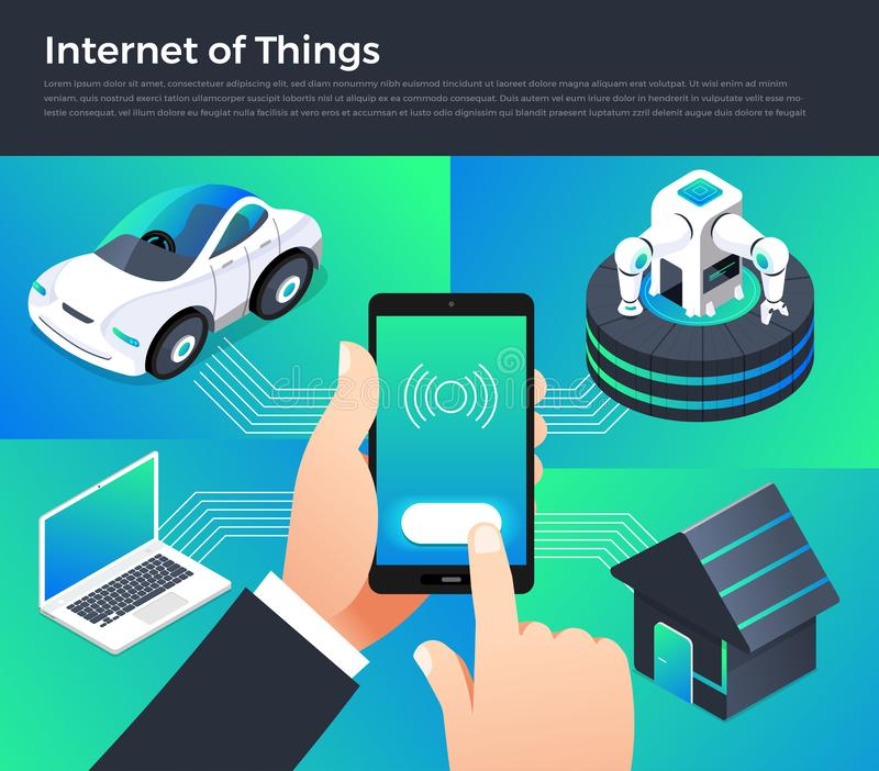 Internet of things. Illustration design concept technology solution of internet of things. Control smart devices with mobile on hand. Vector illustrate royalty free illustration