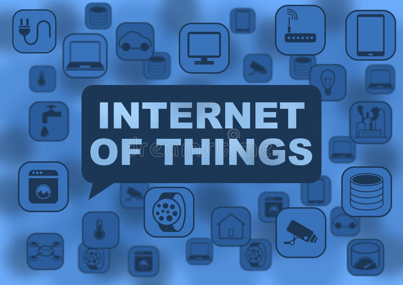 Internet of things illustration with various objects flying around like notebooks, tablets, smart watches. Routers, network devices, computers, cameras stock illustration