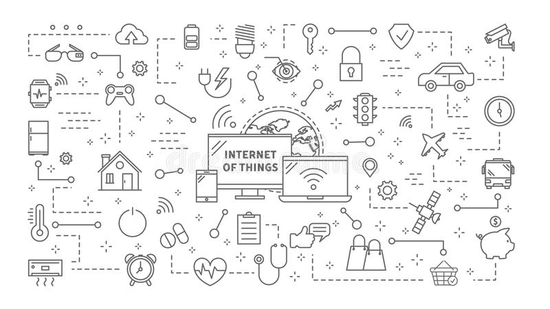 Internet of things. Industrial internet of things icons set linear illustrations stock illustration