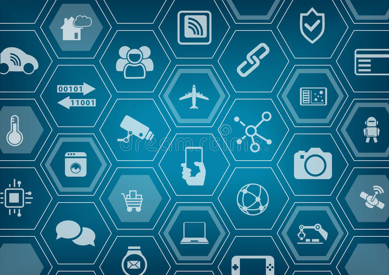 Internet of things IOT blue background with polygon shapes.  stock illustration