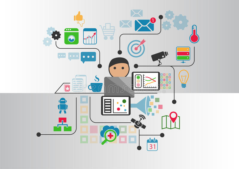 Internet of things (IOT) concept of connected wireless devices as illustration royalty free illustration
