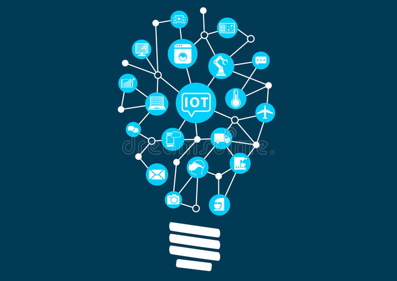 Internet of things (IOT) concept. Digital revolution with new technology opening up new possibilities. Light bulb to represent finding new ideas royalty free illustration
